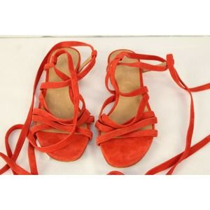 Madewell Holly Ankle wrap red suede sandal size 7